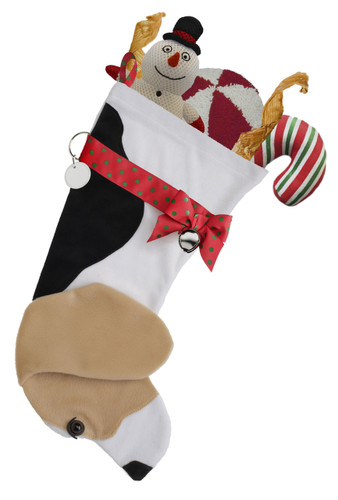 """Boxer Christmas Holiday Dog features faux fur white, black & tan fabric, black eye & nose accents, green & red dotted ribbon """"collar,"""" bow & hanging loop, silver-tone bell & d-ring with a paper ID tag for personalization.    Sorry, but the toys are NOT included."""