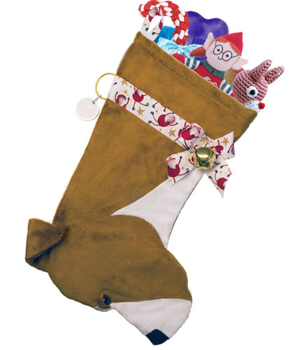 American Pitbull Christmas Holiday Dog Stocking features soft faux fur fabric and brown/black eye & nose accents.  Sorry, but the toys are NOT included.
