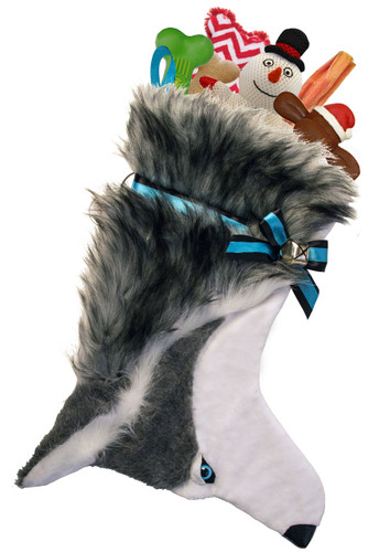 Husky Christmas Holiday Dog Stocking features faux fur fabric, blue eye & black nose accents.  Sorry, but the toys are NOT included.