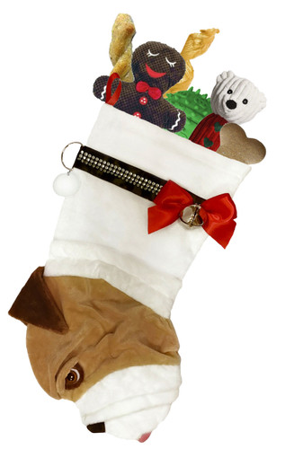 """English Bulldog Christmas Holiday Stocking features faux fur fabric with brown/black eye &  nose accents, satin ribbon """"collar,"""" bow & hanging loop, silver-tone jingle bell & a paper ID for personalization.  Sorry, but the toys are NOT included."""