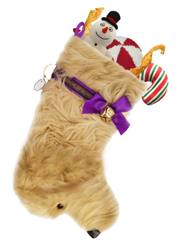 Doodle Christmas Holiday Dog Stocking features lush faux fur fabric with black eye & nose accents .  Sorry, but the toys are NOT included.