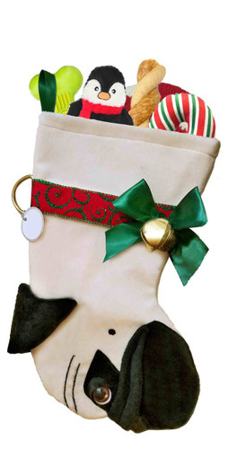 Pug Christmas Holiday Dog Stocking features lush faux fur fabric, black eye & nose accents.  Sorry, but the toys are NOT included.