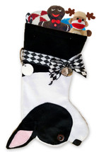 Boston Terrier Christmas Holiday Stocking features lush faux fur fabric, black eye & nose accents. Sorry, but the toys are NOT included.