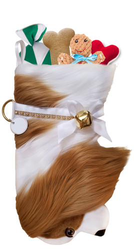 Cavalier King Charles Spaniel Christmas Holiday Dog Stocking features lush faux fur fabric, black eye & nose accents.  Sorry, but the toys are NOT included.