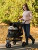 Pet Gear No Zip Gold Monogram Special Edition Pet Stroller has storage basket and parent tray with cup holders