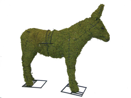 Mossed Donkey Garden Topiary Sculpture