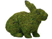 Mossed Hopping Rabbit Topiary Garden Sculpture