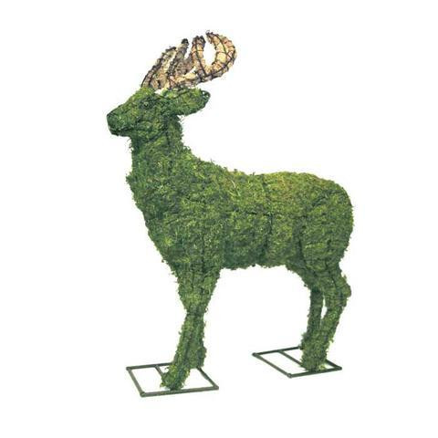 Mossed Deer Garden Topiary Sculptures are scaled to size with an authentic rack and realistic eyes.