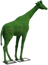 38 Inch Mossed Giraffe Garden Topiary Sculpture