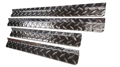 Diamond Plate Aluminum Dog Box Rain Gutters provide protection from the elements when mounted above dog box doors and air vents