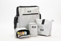 Silver Crossbody Computer, Lunch, Dog Park Pet Travel Bag