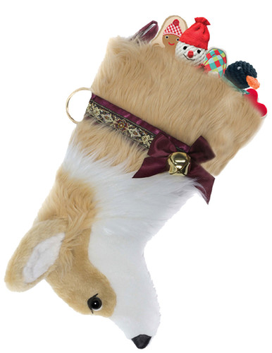 """Corgi Christmas Holiday Dog Stocking features lush faux fur, black eye & nose & measures 19"""" long, allowing you to fill it to the brim with toys, treats & special surprises.  Toys shown are NOT included."""