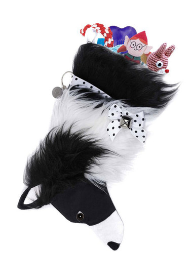 Border Collie Holiday Christmas Dog Stocking is 20 inches long and holds lots of toys, treats and other surprises.  Toys shown NOT included.