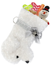 Bichon Frise Maltese Snowball Christmas Holiday Dog Stocking measures 20.5 inches long, so you can load it up with lots of toys, treats, collars, etc.  Toys shown are NOT included.
