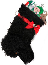 Black Mutt Curly Dog Christmas Holiday Dog Stocking measures 21 inches long and is capable of holding lots of toys, treats, bandanas and surprises.  Toys shown are NOT included.