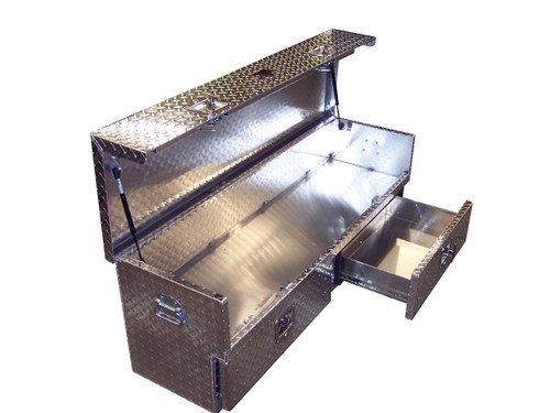 Diamond Plate Open Top Tailgate Toolbox With Drawers features two lower drawers and a top storage area that fully opens to reveal a large cargo area for sliding longer tools, rifles & equipment in easily.  Can also be used in some vans & SUV's depending on the cargo space.