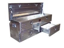 Diamond Plate Offset Chest Tailgate Gear & Supply Toolbox has two lower storage drawers and a spacious top chest storage area with an offset lid.  May be used on trailer tongues and in some SUV's &  Vans, depending on the cargo area.