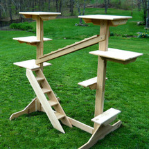 "Amish Made Cedar Indoor Outdoor Cat Jungle Gym has a total of 7 perches and stable 42"" deep legs for stability."