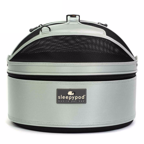 Glacier Silver Sleepypod Pet Bed Carrier Car Safety Seat is recommended for small pets up to 12 pounds.