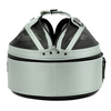 Glacier Silver Sleepypod Pet Bed Carrier Car Safety Seat has a convenient handle for easy portability.