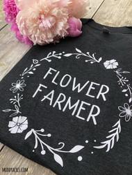 Flower Farmer, Farmer, Flower farmher, vintage shirt, floral wreath, flowers