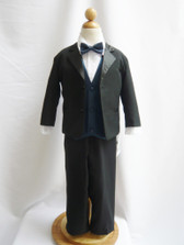 Boy Tuxedo Black with Blue Navy Vest