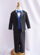 Boy Tuxedo Black with Blue Royal Vest