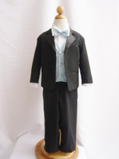Boy Tuxedo Black with Blue Sky Vest