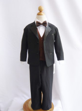 Boy Tuxedo Black with Brown Vest