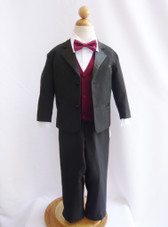 Boy Tuxedo Black with Burgundy Vest