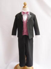 Boy Tuxedo Black with Dusty Rose Vest