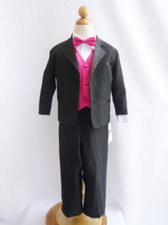 Boy Tuxedo Black with Fuchsia Vest