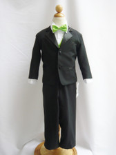 Boy Tuxedo Black with Green Apple Vest