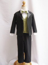 Boy Tuxedo Black with Green Sage Vest