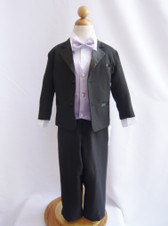 Boy Tuxedo Black with Lilac Vest
