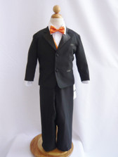 Boy Tuxedo Black with Orange Vest