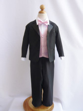 Boy Tuxedo Black with Pink Light Vest