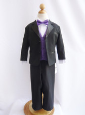 Boy Tuxedo Black with Purple Eggplant Vest