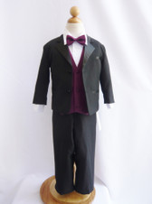 Boy Tuxedo Black with Purple Plum Vest