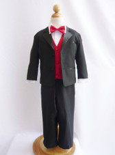 Boy Tuxedo Black with Red Cherry Vest