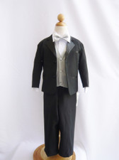 Boy Tuxedo Black with Silver Vest