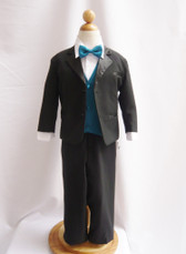 Boy Tuxedo Black with Teal Vest