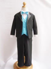 Boy Tuxedo Black with Turquoise Vest