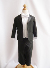 Boy Tuxedo Black with White Vest
