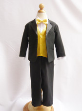 Boy Tuxedo Black with Yellow Vest