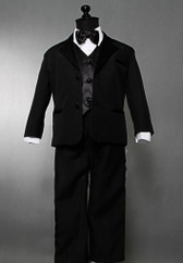 Boy Tuxedo Black with Black Vest