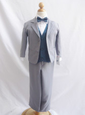 Boy Suit Gray with Blue Navy Vest
