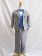 Boy Suit Gray with Blue Royal Vest