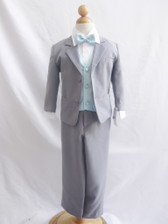 Boy Suit Gray with Blue Sky Vest