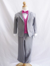 Boy Suit Gray with Fuchsia Vest
